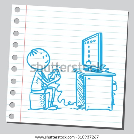 KId playing video game - stock vector