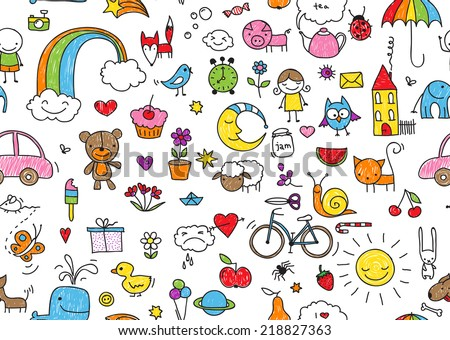 kid's drawing style seamless pattern of random kid's drawing style elements - stock vector