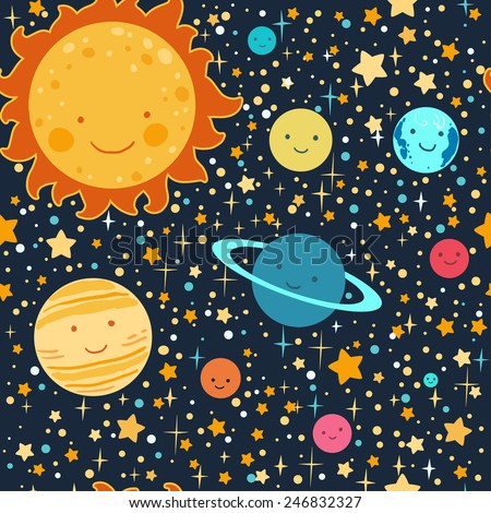 Kid's style drawing solar system seamless vector pattern. - stock vector