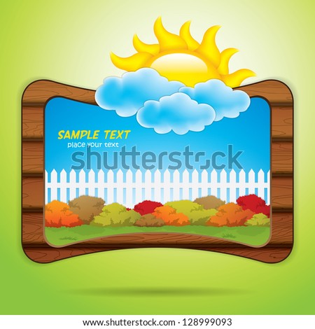 Kid scrapbook with sun and clouds - stock vector