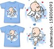 kid shirt with cute angel printed - isolated on white  - stock vector
