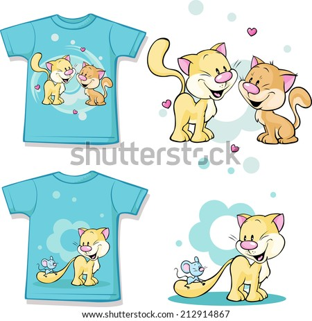 kid shirt with cute cat in love printed - isolated on white, back and front view - stock vector