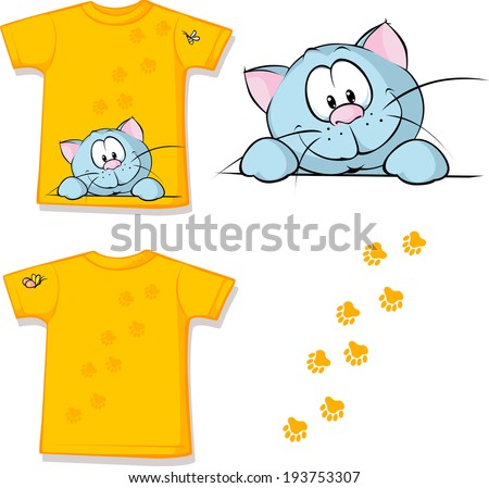 kid shirt with cute cat peeking printed - isolated on white, back and front view - stock vector