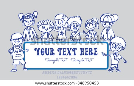 Kid Sketch or Happy kid cartoon doodle collection - stock vector