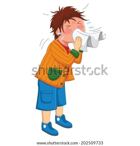 Kid Sneeze Vector Illustration - stock vector