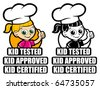 Kid Tested Icon / Mark / Seal. Version Girl Cooker - stock vector
