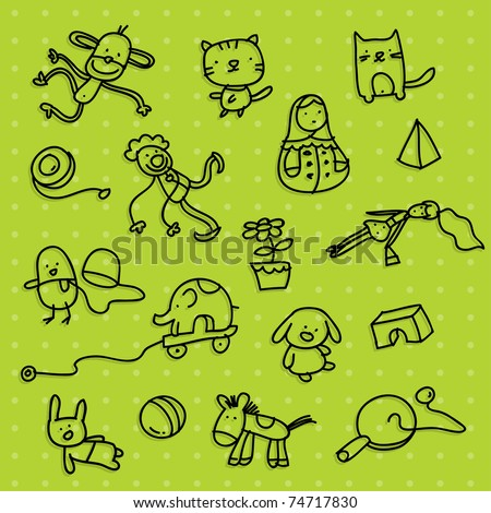 kid toy background - stock vector