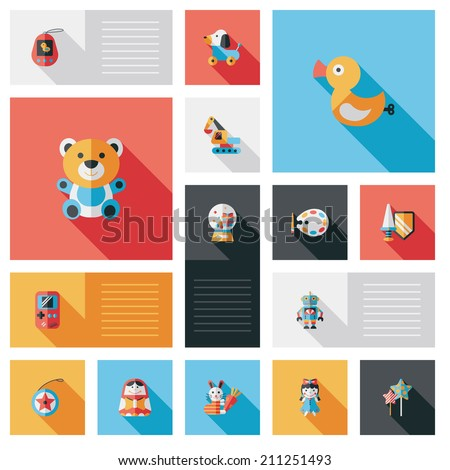 kid toy flat ui background set - stock vector