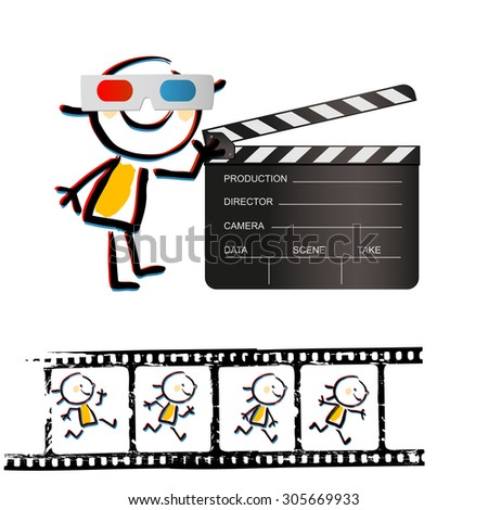 Kid with 3d glasses, and clapperboard. Grunge filmstrip with animation in frames. Vector doodle illustration.  - stock vector