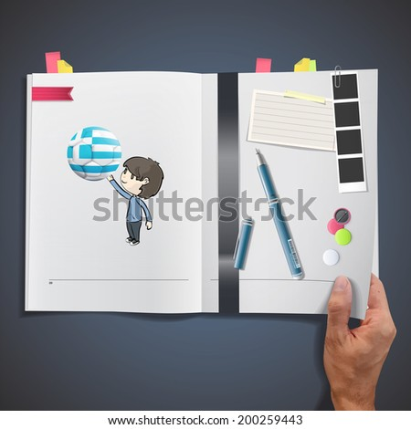 Kid with soccer ball printed on book - stock vector