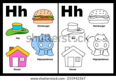 Kids alphabet coloring book page with outlined clip arts to color. Letter H  - stock vector