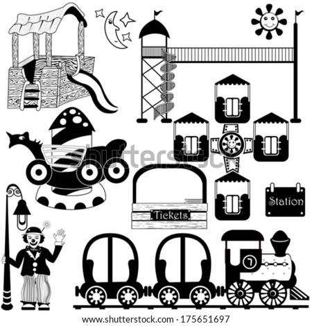 kids amusement park set - stock vector