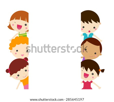 Kids and banner - stock vector