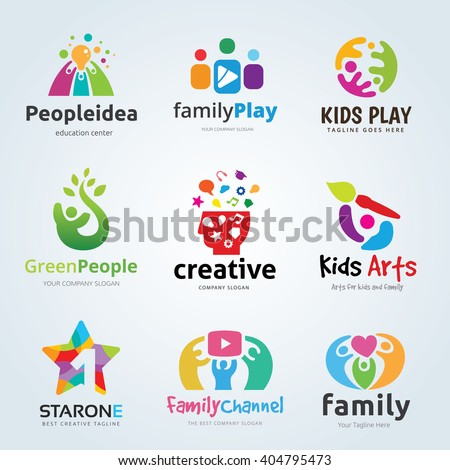 Kids and Family logo set - stock vector