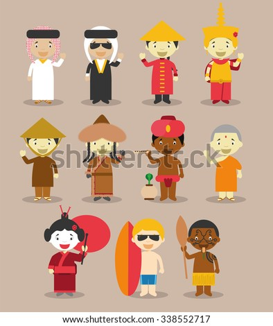 Kids and nationalities of the world vector: Asia and Oceania/Australia Set 3. Set of 11 characters dressed in different national costumes (9 from Asia and 2 from Oceania/Australia).  - stock vector