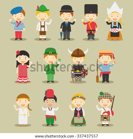 Kids and nationalities of the world vector: Europe Set 1. Set of 13 characters dressed in different national costumes.  - stock vector
