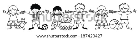 kids and toys - coloring book  - stock vector