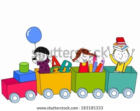 Kids and train - stock vector