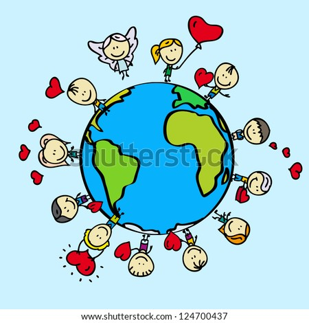 Kids around the world with love valentine hearts - stock vector