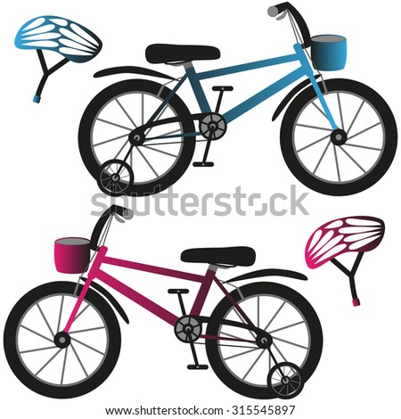 Kids bicycles and helmets, blue and pink. Vector illustration. - stock vector