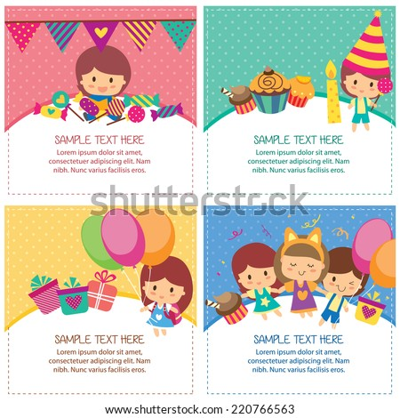 kids birthday design layout - stock vector