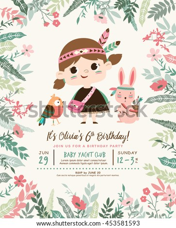 Kids birthday party invitation card with a cute little girl and friends - stock vector