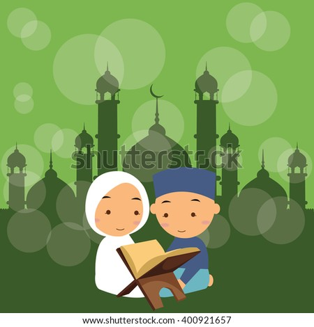 kids boys and girls read holy quran qoran Islam in mosque - stock vector