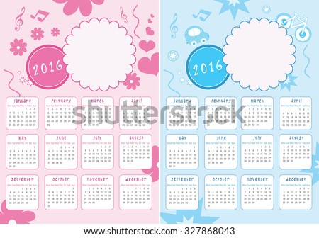 Kids Calendar of New Year 2016 - Two Versions for Girls and Boys - EPS Vector Template - stock vector