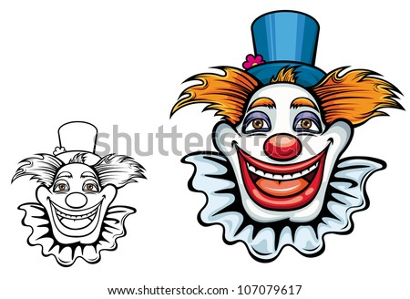 Kids cartoon illustration of a comic happy clown face with tufts of hair and a beaming grin in a coloured and black and white outline variant, isolated on white. Jpeg version also available in gallery - stock vector