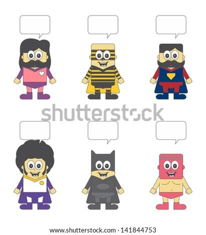 kids cartoon super hero set bubble two - stock vector