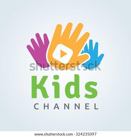Kids Channel Logo,Kids logo,Kids play logo,Vector Logo template - stock vector