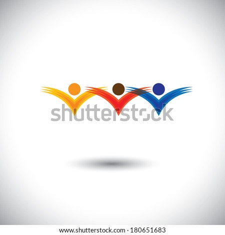 kids & children playing and having fun at school - concept vector. This graphic also represents religious community members, team work and team building, inspired employees, jumping in joy - stock vector
