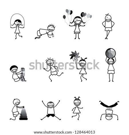 Kids(children) playing & having fun at school in black and white. The girls and boys are skipping, playing ball and balloons, running, jumping, alphabet blocks, and other fun activities - stock vector