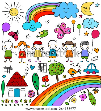 kids, clouds, sun, rainbow.., child like drawings elements set - stock vector