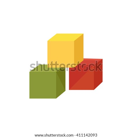 Kids colored cubes web icon, website logo, three-dimensional shape on isolated background - stock vector