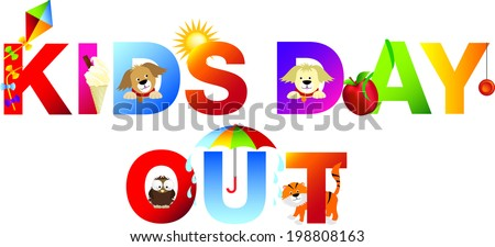kids day out no matter what the weather - stock vector