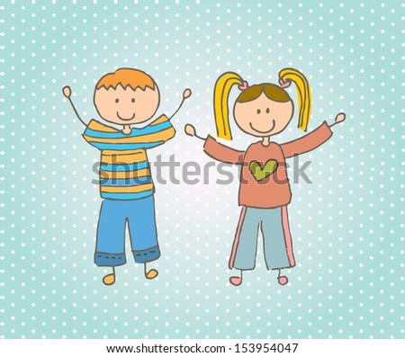 kids design over dotted background vector illustration - stock vector