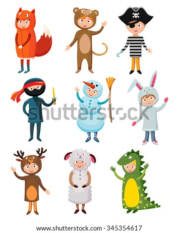 Kids different costumes isolated vector illustration. Dragon, crocodile, sheep and deer. Snowman, bear, ninja, rabbit and fox, pirate.Kids costume vector isolated. Children party costume. Kids costume - stock vector