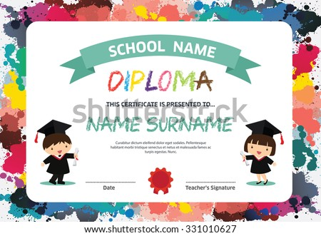 Kids Diploma certificate background design template - stock vector
