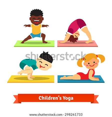 Kids doing yoga poses on colorful mats. Flat vector illustration isolated on white background. - stock vector