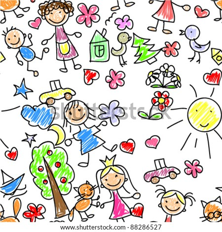 kids drawing seamless pattern - stock vector