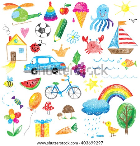 kids drawings collection - stock vector