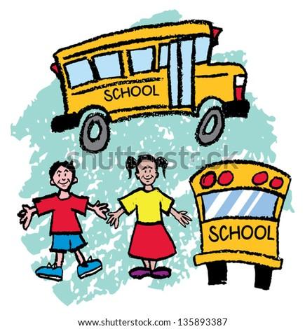 School Bus Drawing Kids Drawings of Kids School