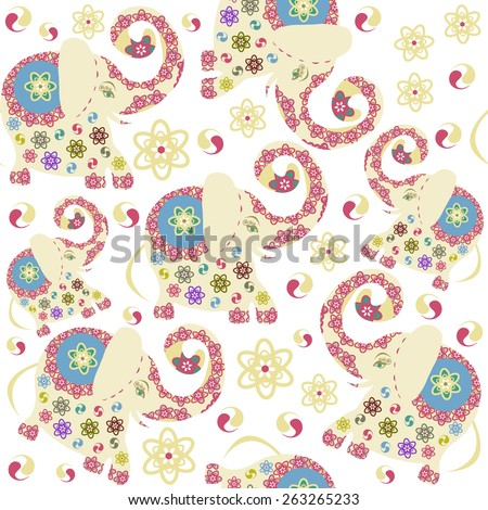 Kids elephants seamless pattern and seamless pattern in swatch menu, vector illustration. Funny texture for web and print - stock vector