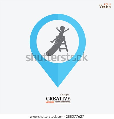kids enjoying on slide.kid play slide.vector illustration. - stock vector