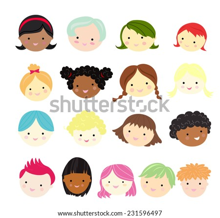 Kids face sets - stock vector