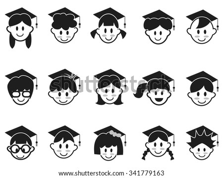 kids face with graduation cap icons - stock vector