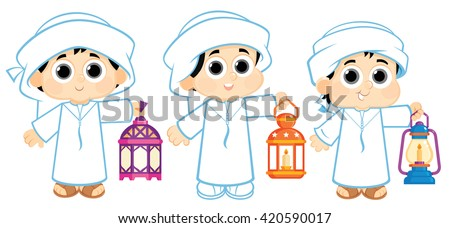 Kids from the United Arab Emirates celebrating Ramadan and carrying Ramadan Lanterns - stock vector