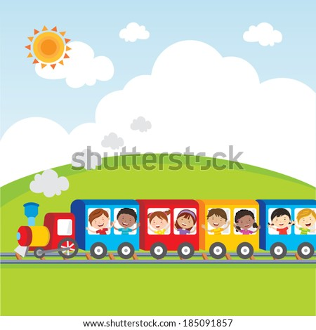 Kids fun on circus train. Vector illustration of diversity kids on circus train waving their hands. - stock vector