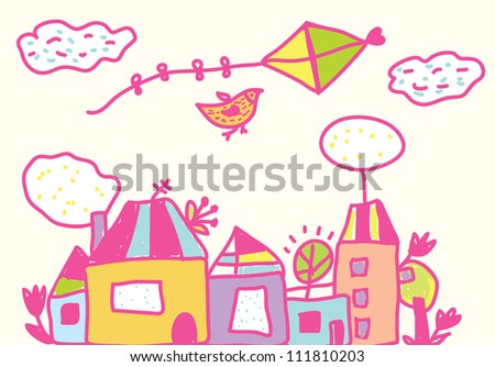Kids funny background with kite, houses, flowers - stock vector